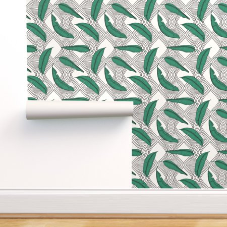 Removable Water-Activated Wallpaper Coastal Leaves Tribal Lines Shrubs Falling Falling Leaves Wallpaper