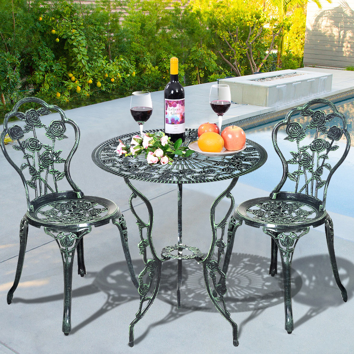 Costway Rose Design Cast Aluminum Outdoor 3 Piece Outdoor Bistro Set