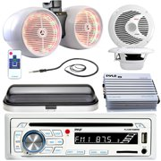 """Pyle PLCDBT65 Bluetooth MP3 USB SD Stereo Receiver Bundle Combo With Waterproof Cover + 2x 6.5'' Inch 2 Way Coaxial Speakers + 6.5"""" LED Dual Tower Speakers + 400-Watt Amplifier + Enrock Radio Antenna"""