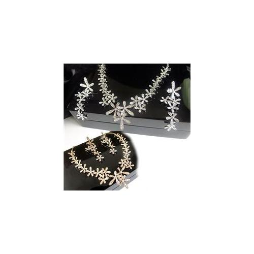 Women's Fashionable & Stylish Rhinestone Necklace & Earring Set (Earring STUD Styled)-Color Gold