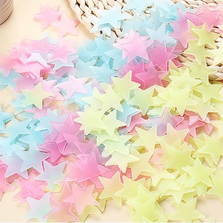 Room PVC Star Shaped Decor Glow in the Dark Wall Sticker Decal Yellow 100 Pcs - image 2 of 3