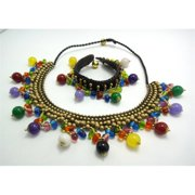 WNK International SMLC003 Handmade Multicolored Stones and Brass Beads Necklace and Bracelet Set