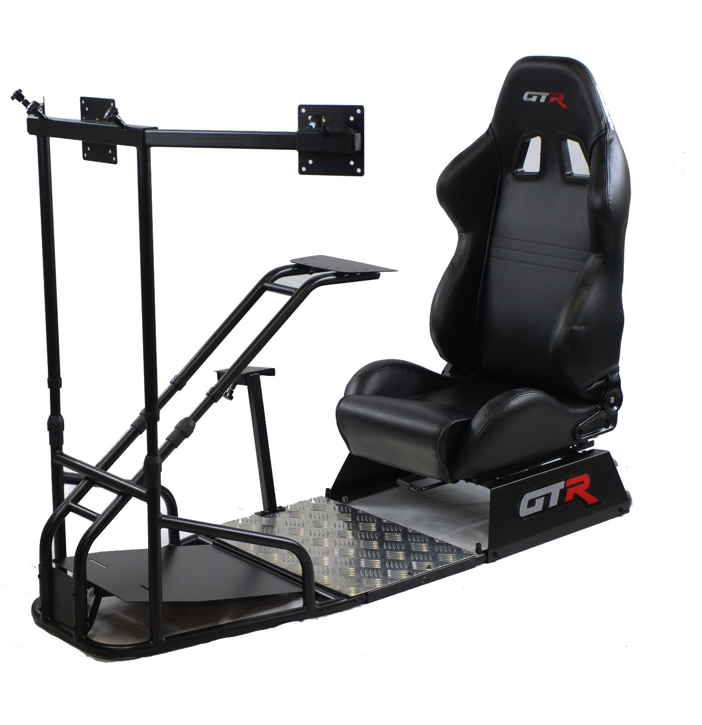 GTR Racing Simulator - GTSF Model (Black Color) with Real Racing Seat, Driving Simulator Cockpit with Gear Shifter Mount and Triple or Single Monitor Mount