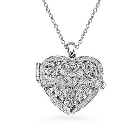 Vintage Style Filigree Cubic Zirconia CZ Heart Shape Locket Pendant Necklace For Women 925 Sterling Silver