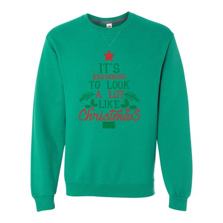 """Unisex Soft Sweatshirt """"It's Beginning To Look A Lot Like..."""" Extra Soft Sweater Small, (Small Green Fruit That Looks Like An Apple)"""