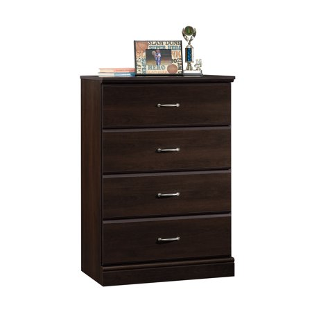 - Sauder Parklane Transitional 4-Drawer Chest, Espresso Finish