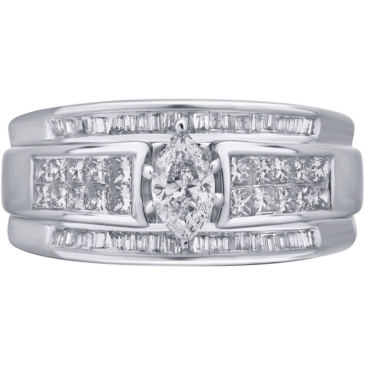 1-Carat T.W. Baguette, Princess and Marquis White Diamond 10-Carat White Gold Engagement Ring by Unique Designs Inc.