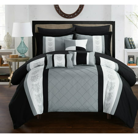 Chic Home 10-Piece Dalton Pin tuck-Pieced Color Block Embroidery Queen Bed In a Bag Comforter Set Grey With sheet set Contemporary Blocks Comforter