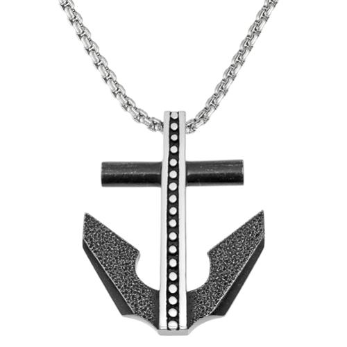 Blackplated Stainless Steel Anchor Pendant Necklace