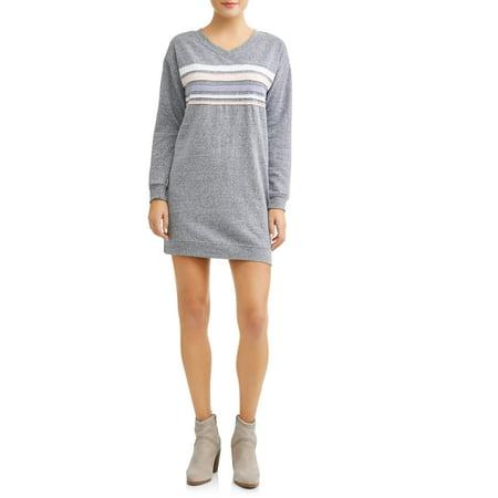 No Comment Women's Chest Stripe Sweatshirt Dress