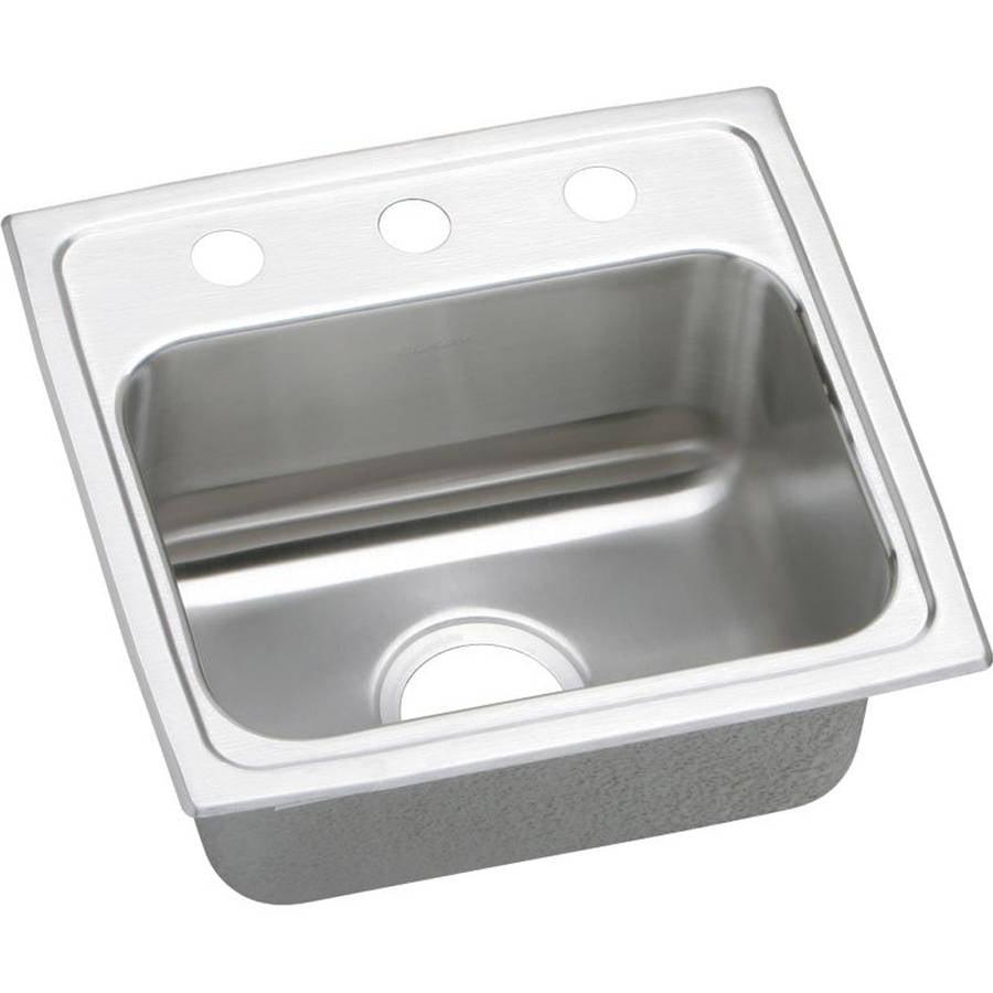 Elkay LR17162 Gourmet Lustertone Stainless Steel Single Bowl Top Mount Sink with 2 Faucet Holes
