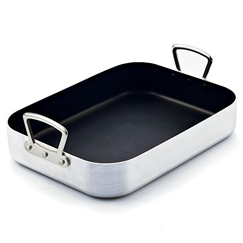 Cook N Home Nonstick Roaster with Rack, 16-inch by 12-inch