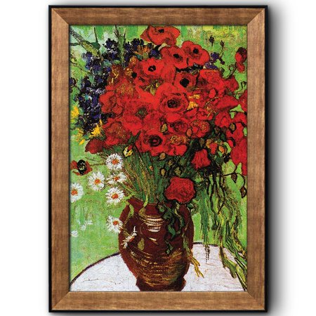 - wall26 - Red Poppies and Daisies by Vincent Van Gogh - Oil Painting, Impressionist, Artist - Framed Art Prints, Home Decor - 16x24 inches