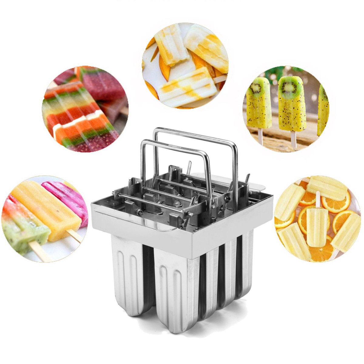 8 Lattice Stainless Steel Molds Ice Pop Maker & Ice Lolly Popsicle Ice Cream Stick Holder,Square & Round head & V-Type