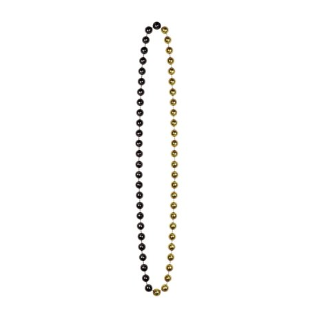 Club Pack of 12 Hollywood Themed Black and Gold Jumbo Beaded Necklace Party Favors - Old Hollywood Prom Theme