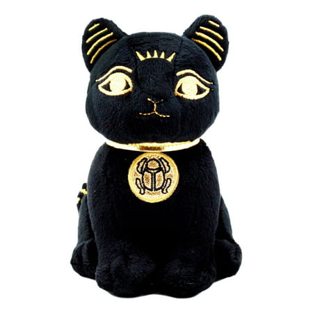 """Ebros Black & Gold Egyptian Small Scarab Amulet Bastet Cat Plush Toy Soft Doll Collectible 5""""H"""
