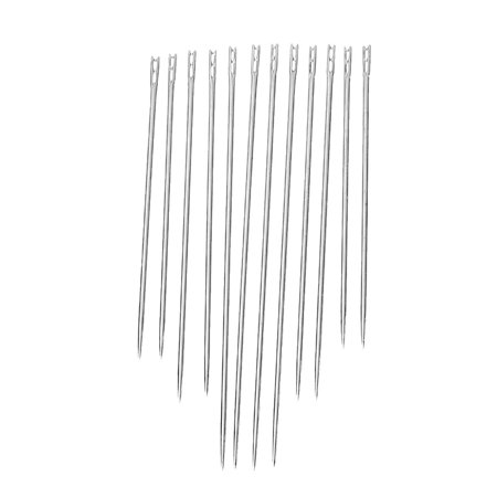 12 Pcs Self Threading Sewing Needles Two Holes .8mm,36mm,42mm,50mm for $<!---->