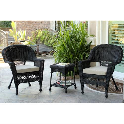 3 Piece Black Resin Wicker Patio Chairs And End Table Furniture Set   Tan  Cushions