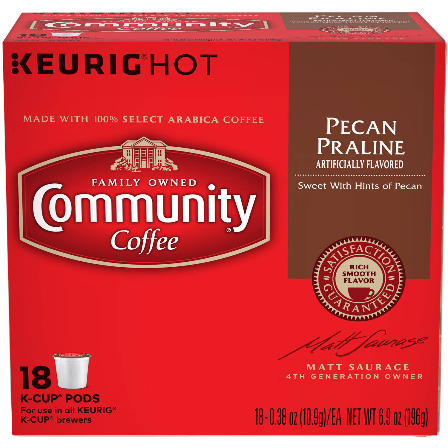 Community Coffee Pecan Praline Coffee K-Cup Pods, .38 oz, 18 count