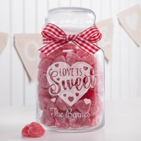 Personalized Love Is Sweet Glass Treat Jar