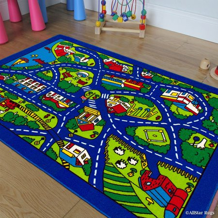Allstar Kids / Baby Room Area Rug. Street Map with Blue Vibrant Colors (3' 3
