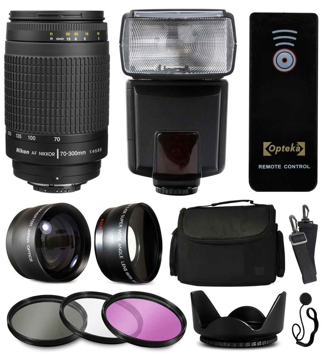 Nikon AF 70-300mm Manual Lens + Accessories Bundle with 2.2x & 0.43x Adapters + Flash + Case + Filters for Nikon DF D7200 D7100 D7000 D5500 D5300 D5200 D5100 D5000 D3300 D3200 D3100 D3000 D300S D90