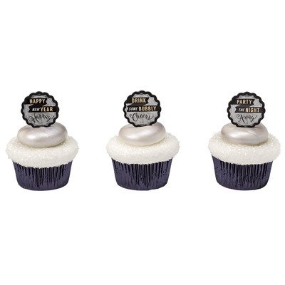 Happy New Years Cheers  24Pk Cupcake   Desert   Food Decoration Topper Picks With Favor Stickers   Sparkle Flakes