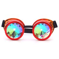 C.F.GOGGLE Fation Rainbow Steampunk Goggles Rivet Laser Kaleidoscope Glasses Role Playing Round Glass Crystal Lens Silver Black Pink