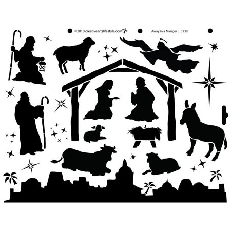 Away In A Manger Stencil by StudioR12 | Elegant Traditional Christmas Art - Large 14 x 11-inch Reusable Mylar Template | Painting, Chalk, Mixed Media | Use for Wall Art, DIY Home Decor - STCL139](Manger Silhouette)