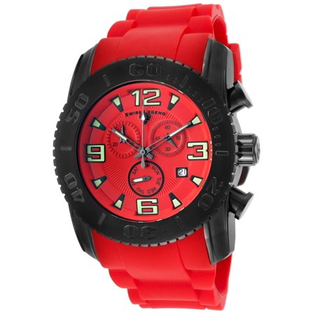 Swiss Legend 10067-Bb-05 Commander Chronograph Red Silicone And Dial Black Bezel Watch