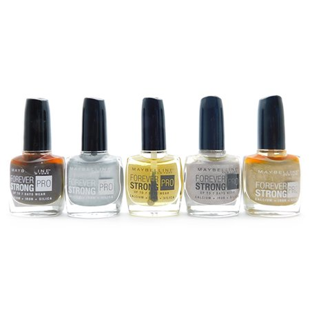 Maybelline Forever Strong Iron - Maybelline Forever Strong Nail Polish set of 5: Taupe Couture, Oh So Close!, Crystal Clear, Lunar Grey, Winner Takes It All (each 10 mL.)