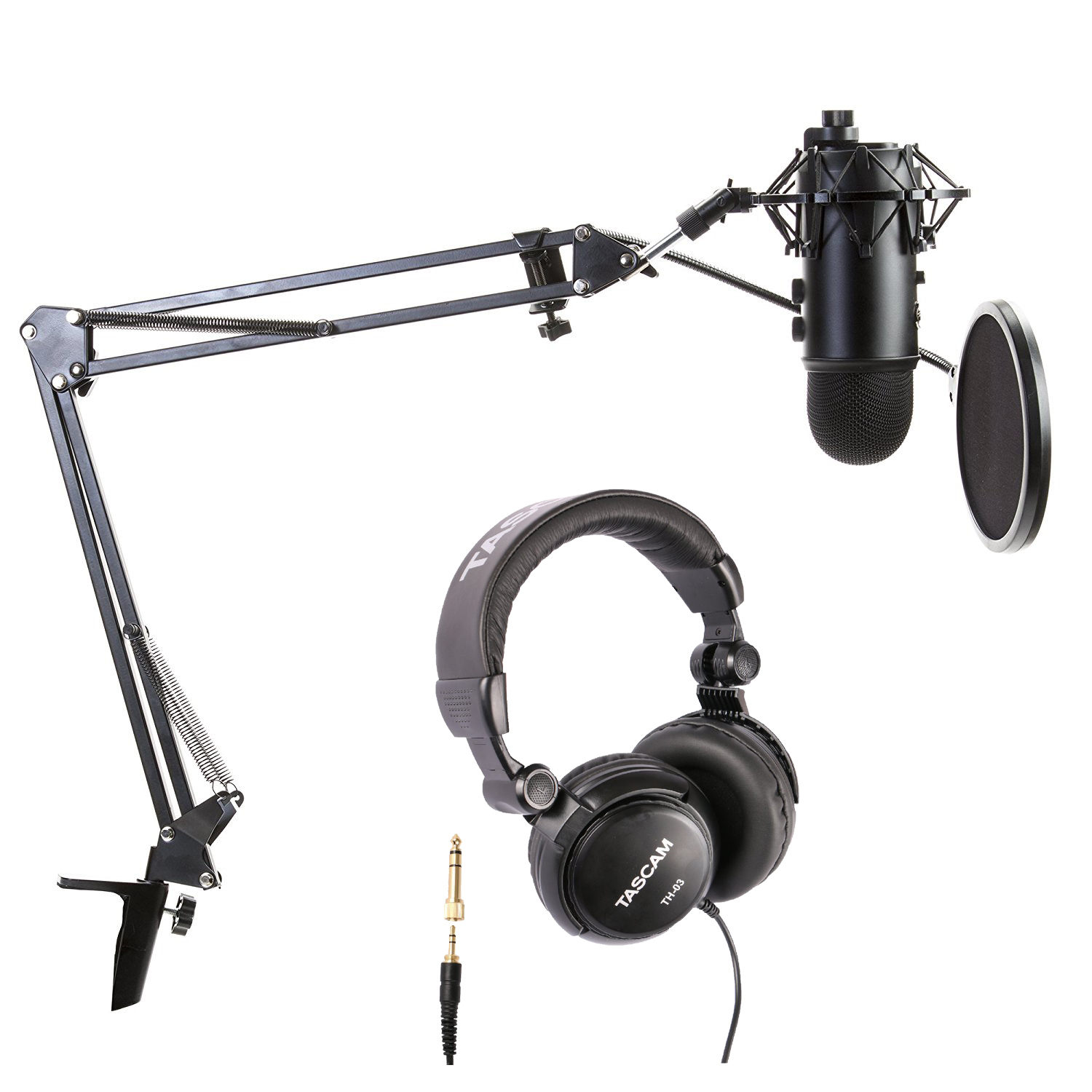 Blue Microphone Blackout Yeti with Boom arm, Pop Filter, Mount and Headphones