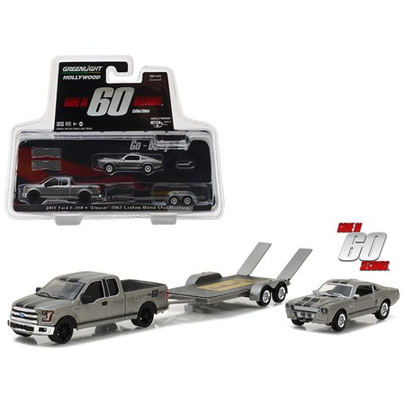 2015 Ford F-150 & 1967 Custom Ford Mustang Eleanor Gone in Sixty Seconds Hollywood Hitch&Tow 3 1/64 Diecast Greenlight