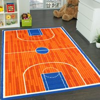 Kids Rug basketball court 5' X 7' Children Area Rug for Playroom & Nursery - Non Skid Gel Backing