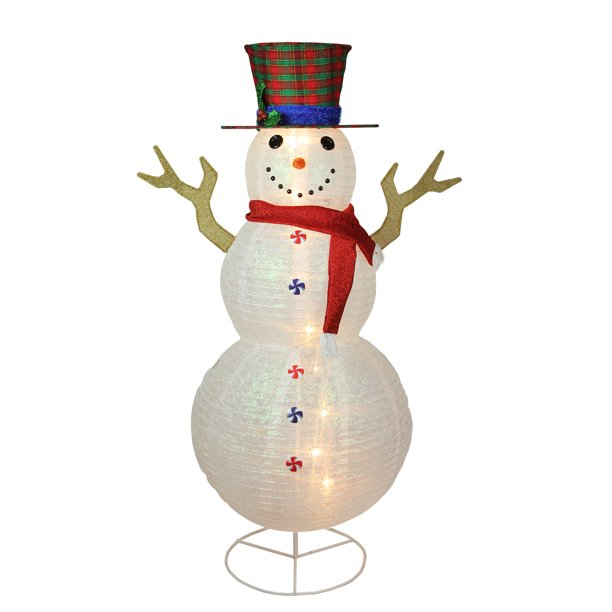 6 Pre Lit Glittered Snowman With Plaid Hat Outdoor Christmas Yard Art Decor Walmart Com Walmart Com