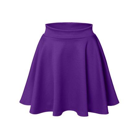 Luna Flower Women's Basic Versatile Stretchy Flared Skater Skirt DARK_PURPLE X-Large (LFWSK0009) - Skater Skirt Halloween