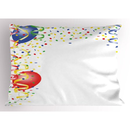 Kids Party Pillow Sham Children's Birthday Concept with Balloons and Confetti Happy Surprise Cheerful, Decorative Standard Queen Size Printed Pillowcase, 30 X 20 Inches, Multicolor, by Ambesonne