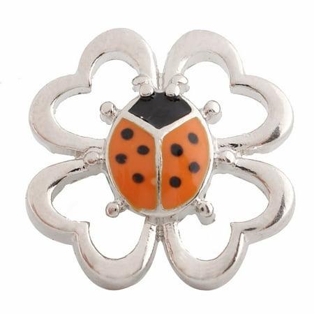 1 PC - 18MM Orange Ladybug Enamel Candy Snap Charm Silver Tone kc6096 CC2689 - Bug Shaped Candy