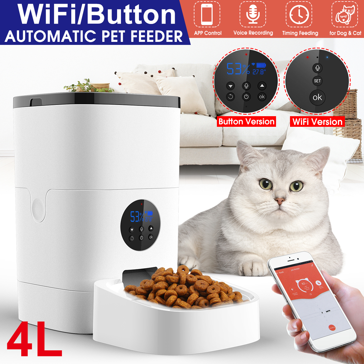 App Control Smart Pet Feeder Automatic Cat Dog Food Dispenser Support Voice Recorder Timer Programablefor Dogs Cats Small Animals Christmas Gift Walmart Com Walmart Com
