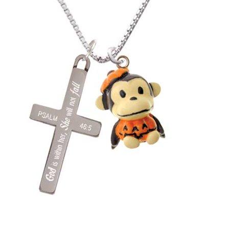 Resin Monkey in Pumpkin Costume - She will not Fall - Cross Necklace