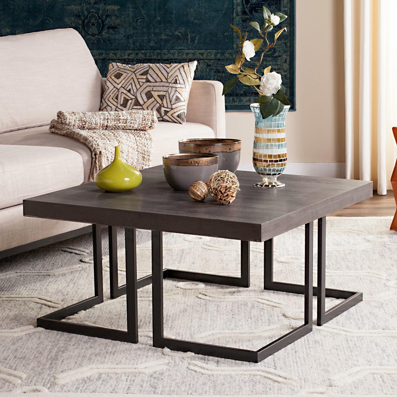 "Safavieh Amalya 31.5"" Square Modern Mid Century Coffee Table, Dark Grey/Black"