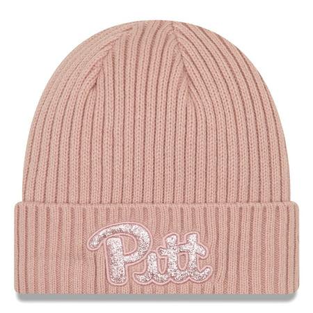 Pitt Panthers New Era Women's Team Glisten Cuffed Knit Hat - Pink - OSFA