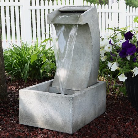 Sunnydaze Modern Arched Outdoor Waterfall Fountain, Patio and Backyard Water Feature, 24-Inch Tall ()