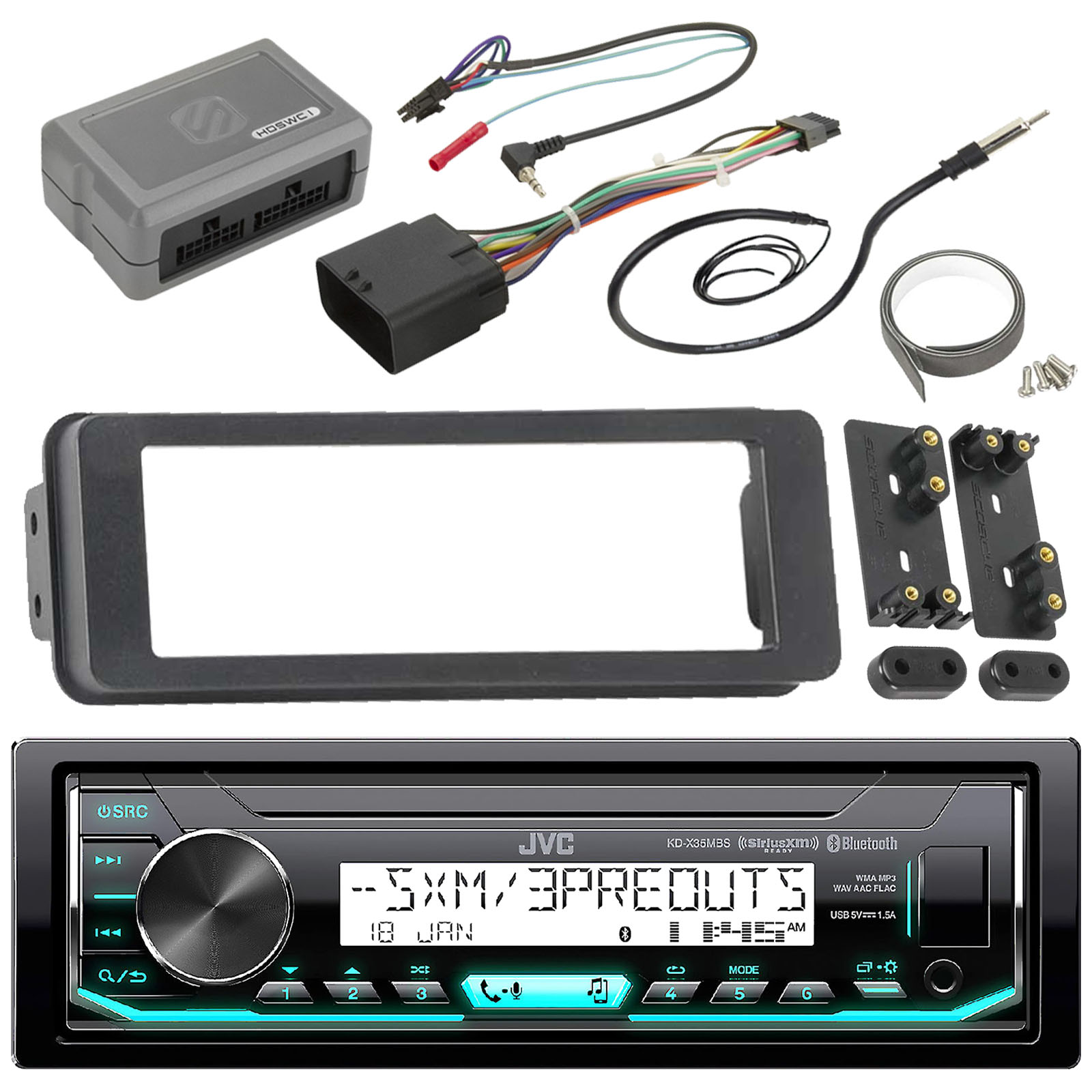JVC KDX35MBS Marine Radio Stereo Receiver For 1998 2013 Harley Davidson Touring Flht Flhx Flhtc Bundle With Scosche Adapter Dash Kit With Handle Bar Control Module + Enrock Wire Antenna