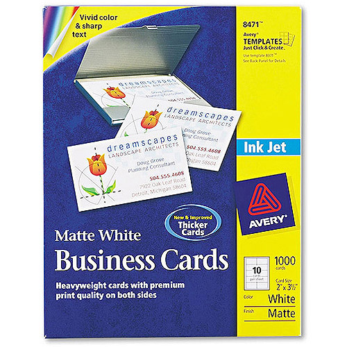 Avery Business Cards for Inkjet Printers 8471, White, 1000-Count
