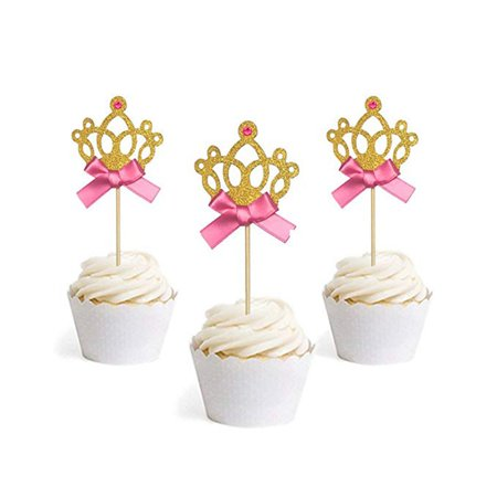Gold Glitter Princess Crown Tiara Cake Cupcake Toppers Picks for Party Decor - Tiara Cupcake Toppers