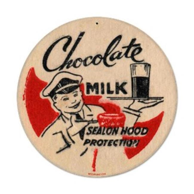 Past Time Signs RPC085 Chocolate Milk Food And Drink Round Metal Sign - image 1 de 1