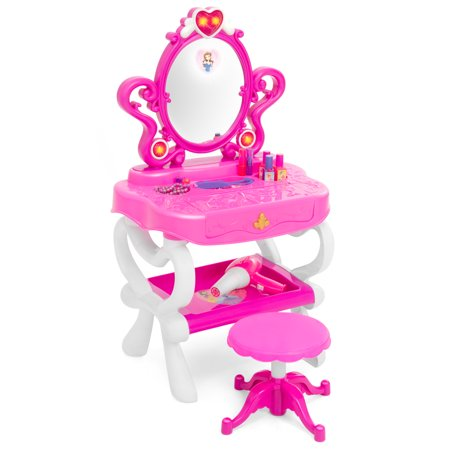 Best Choice Products Toy Vanity Set w/16 Beauty Accessories, Functional Piano Keyboard & Flashing