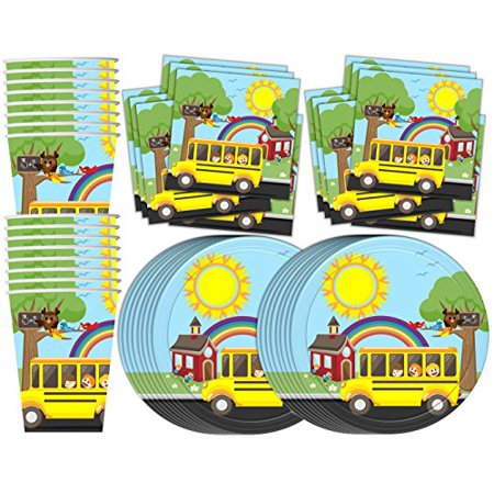 School Bus Birthday Party Supplies Set Plates Napkins Cups Tableware Kit for 16](Las Vegas Halloween Party Bus)
