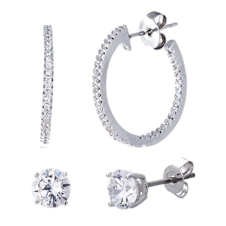 Lesa Michele Women's White Cubic Zirconia Solitaire Stud and In & Out 20MM Hoop 2 Pair Earring Set in Rhodium Plated Sterling Silver 2 Pair Hoop Earring
